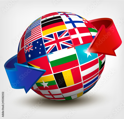 Flags of the world in globe with an arrow. Vector illustration.