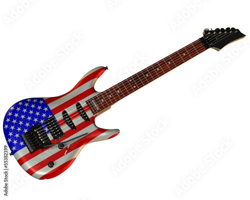 Leinwandbild Motiv Elektrogitarre mit USA Fahne