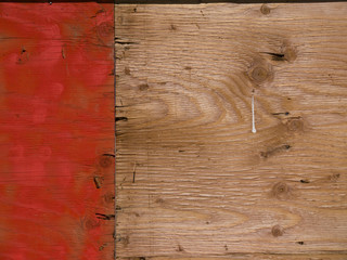 Plywood background, left third painted orange
