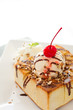 honey toast with vanilla ice cream : with white text space