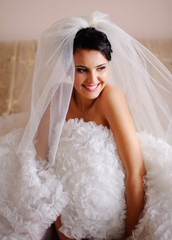 young brunette  bride