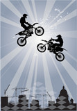 abstract composition with two bikers