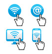 Wifi sumbol  with cursor hand icons