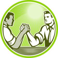Businessman Office Worker Arm Wrestling