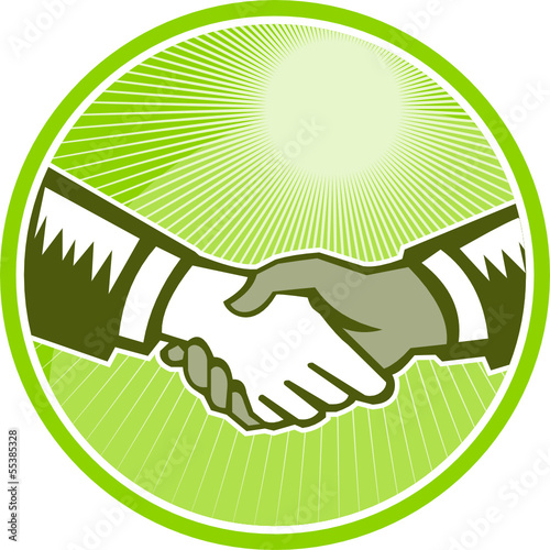 Handshake Black White Woodcut Circle