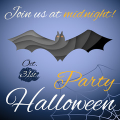 Halloween party poster. Dark paper bat. Vector