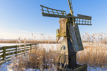 Dutch meadow mill in winter landscape