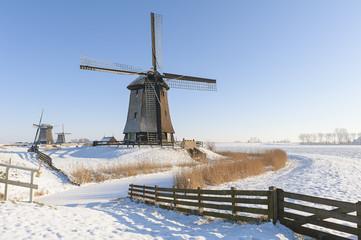 Dutch windmills in winter landscape