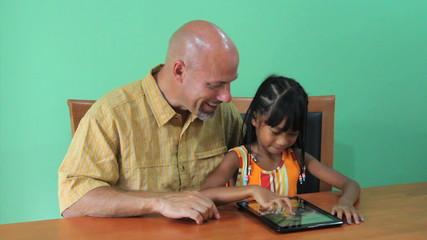 Proud Asian Girl Using Digital Tablet