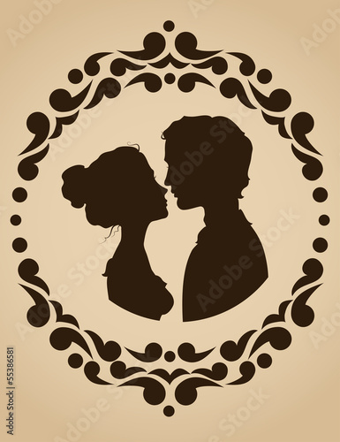 Silhouettes of kissing couple