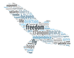 Words illustration of a the concept of freedom