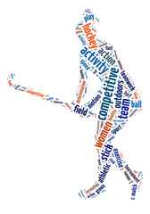 Words illustration of a woman playing field hockey