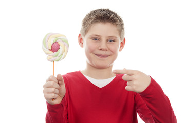 joyful boy with big lollipop