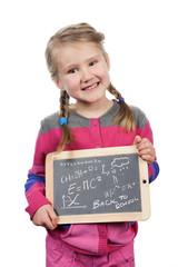 girl holding a slate