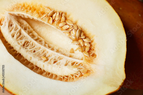 Juicy cut melon with seeds