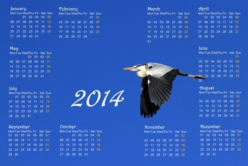 2014 english calendar with heron in flight