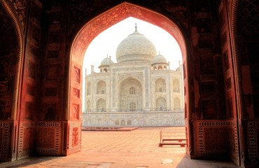 The view of Taj Mahal from its mosque