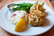 seafood  crab cake  on dish typical food in Annapolis