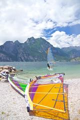 Surfer, Surfbrett, Segel, Gardasee, Italien, Torbole