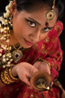 Diwali Indian female with oil lamp