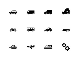Cars and Transport icons on white background.