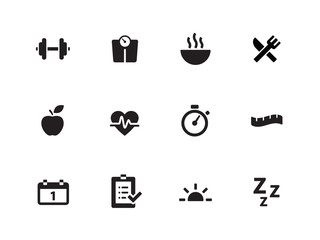 Fitness icons on white background.