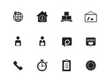 Logistics icons on white background.