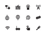 Networking icons on white background.