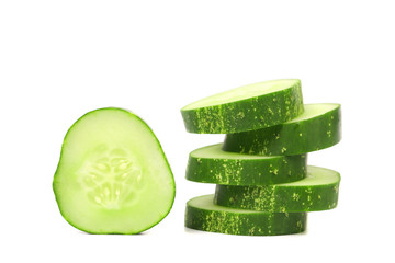 Stack and slices of fresh cucumber.