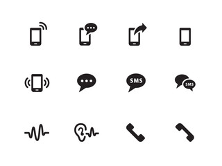 Phone icons on white background.