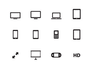 Screens icons on white background.