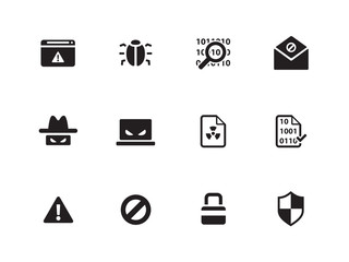 Security icons on white background.