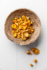 Raw wild mushrooms in wooden bowl