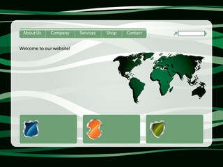 Green lined web template