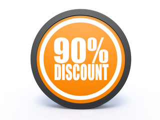 discount circular icon on white background