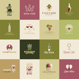 Fototapety Set of icons for wine, wineries, restaurants and wine shops