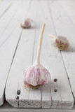 Three garlic bulbs spaced