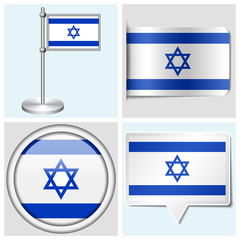 Israel flag - set of sticker, button, label and flagstaff