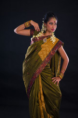 indian female dancer during diwali festival of lights
