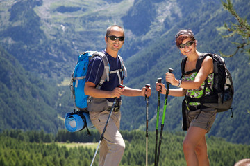 couple trekking