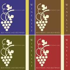 Copertina per la lista dei vini in 4 varianti