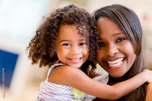 canvas print picture Happy mother and daughter