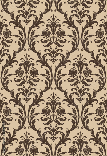 Damask seamless pattern in brown and beige