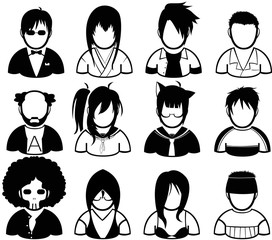 set of people in various character