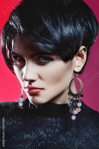 Studio shot of Sexy Fashionl Woman in Black Dress
