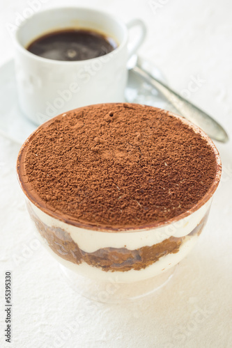 A cup of Tiramisu (with black coffee)