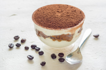A cup of Tiramisu (with coffee beans)