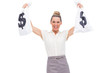 Smiling businesswoman showing money bags