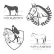 Obrazy na płótnie, fototapety, zdjęcia, fotoobrazy drukowane : Set of equestrian stables labels and badges