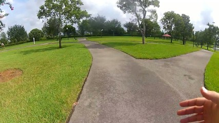 POV running on a outdoor path. Point of View runner